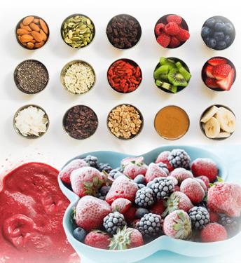 Kolor smuti činija - Kuhinja antioksidans. Jagodasto bobičasto voće u osnovi obezbediće vašem imunom sistemu dovoljno antioksidanasa za borbu.